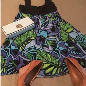 Green/blue/black floral/tropical print dress